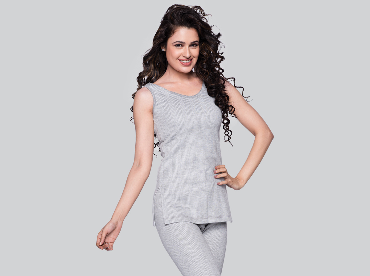 Thermal Woman Top Long Camisole Picoting Vest